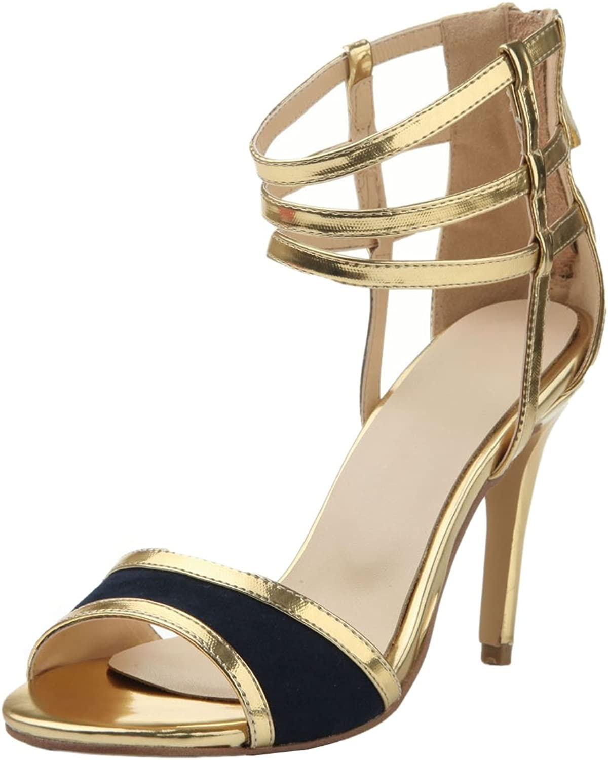 TDA Women's Sexy Bows Peep Toe Synthetic Zipper Evening Party Dress Stiletto shoes