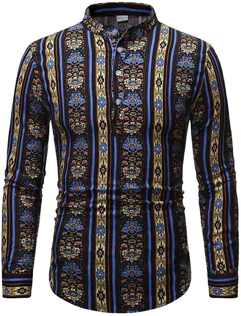 MODOQO Men's Ethnic Long Sleeve Stripe Cotton Linen Printing Hawaiian Shirt Blouse