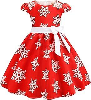 Aislor Enfant Fille Robe De Noël Princesse Classique Vintage Robe À Pois Flocon De Neige Bouffantes Manches Volants Tutu C...