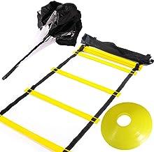 Huawei 6m 12 آموزش نردبان چابکی رونگ با چتر نجات مقاومت ، 12 مخروط دیسک زرد ، کیف حمل