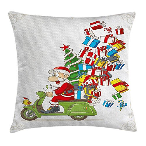 EJWERR Christmas Throw Pillow Cushion Cover, Santa on Motorbike Scooter with Tree and Gifts Funny Cartoon for Kids Bird, Decorative Square Accent Pillow Case, White Green Red 16x16 inches