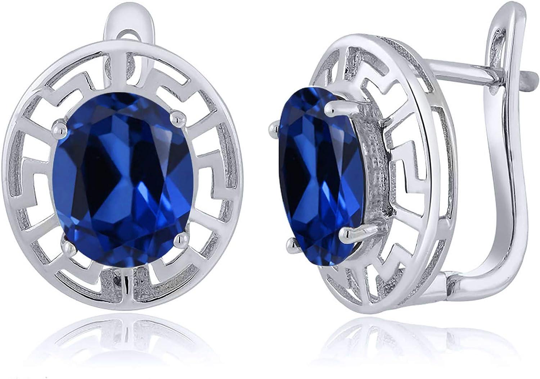Gem Stone King 6.60 Ct Oval Key Sapphire Blue Greek Sale SALE% OFF Created 925 Omaha Mall