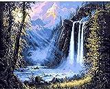 DIY Pintura al óleo digital Impresión en lienzo Pintado a mano Pintura al óleo acrílica Artista abstracto Decoración del hogar Regalo único Luz solar Cascada luminosa -40x50cm (con marco)