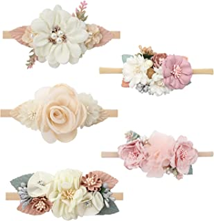 Cinaci 5 Pack Delicate Floral Flower Nylon Headbands Hair Bands Accessories for Baby Girls Newborns Infants Toddlers Kids
