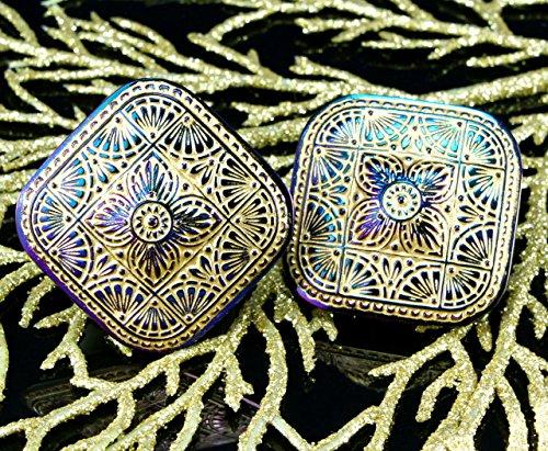 1pc Handmade Large Czech Glass Button Square Matte Gold Purple Dichroic Vitrail Size 18, 38mm