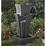 BOWERY HILL Raining Water Fountain Planter with Led Light