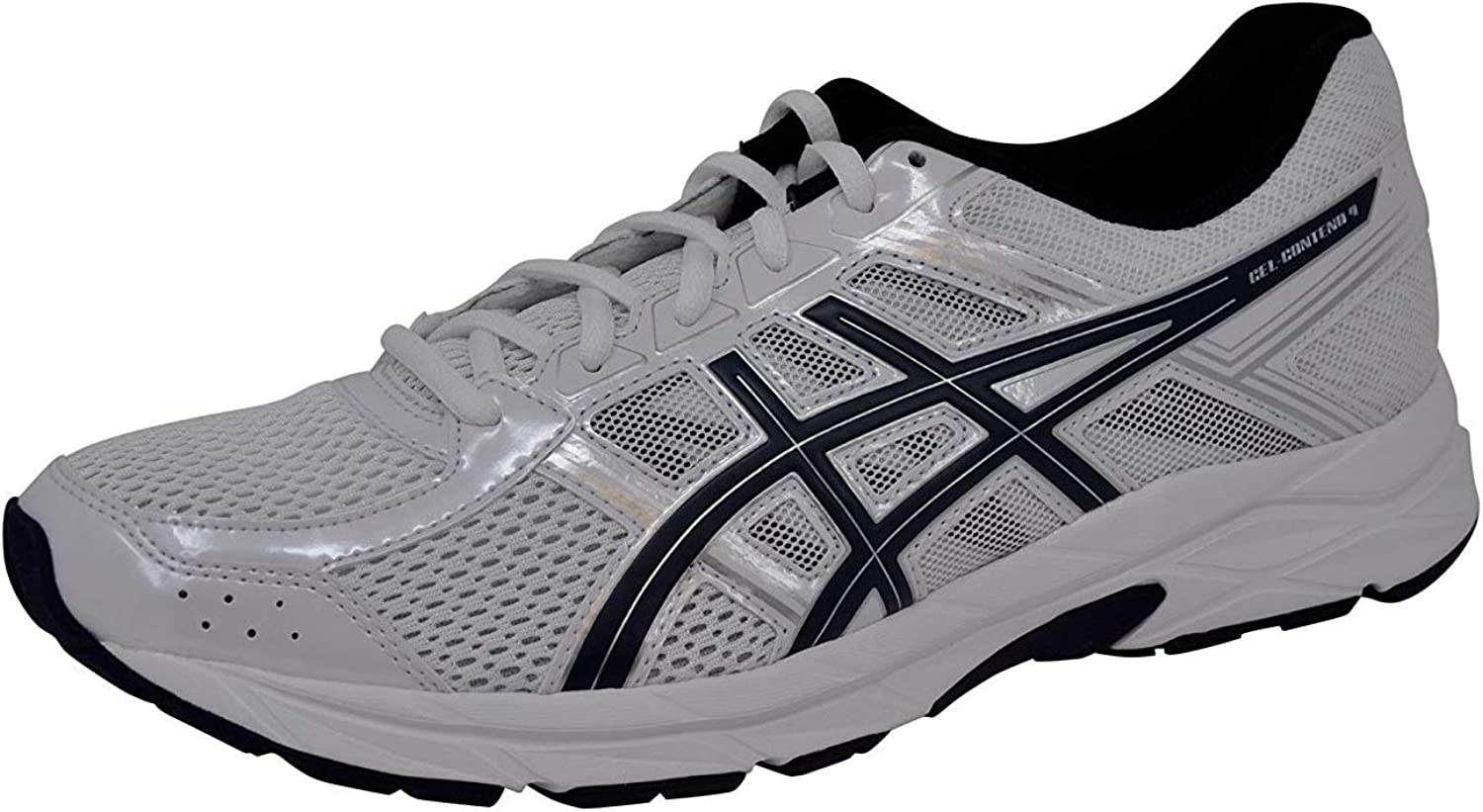 ASICS Mens Gel-Contend 4 correrening sautope, bianca blu argento, 11 D(M) US