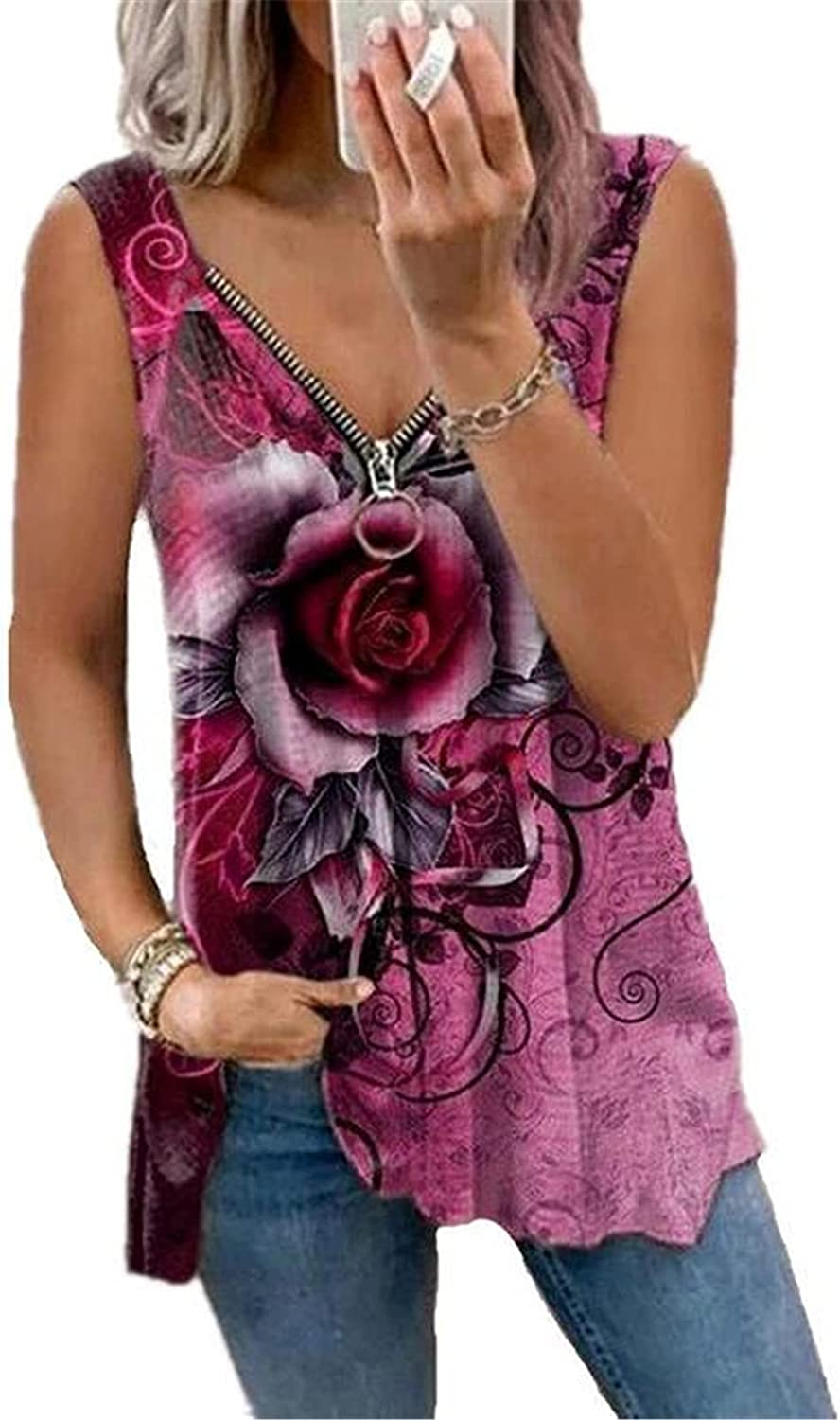 Veloday Tank Top for Women, Summer Womens Sexy Tank Top Loose Casual Sleeveless Rose Print Tunic Top Chain Vest Tee Shirts