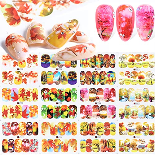Autumn Leaves Nail Decals for Nail Art Designs, 12 Sheets Fall Maple Leaf Forest Nail Art Stickers Water Decals for Acrylic Nails, Nail Decoration Accessories Nail Beauty Supplies for Women