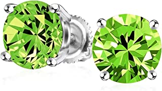 1Ct Round Cubic Zirconia Brilliant Cut AAA CZ Solitaire Stud Earrings Sterling For Men Silver Screwback 7MM More Colors