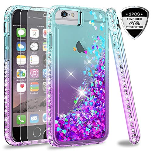 LeYi Compatible for iPhone 8 Plus Case, iPhone 7 Plus Case, iPhone 6 Plus Case with Tempered Glass Screen Protector [2Pack] for Girls Women, Glitter Clear Phone Case for iPhone 6s Plus, Teal/Purple