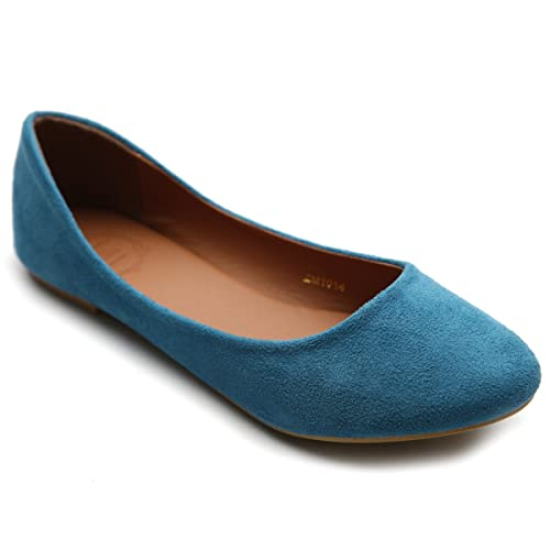 82f5d5b8e5ceb8 Ollio Womens Shoe Ballet Light Faux Suede Low Heels Flat