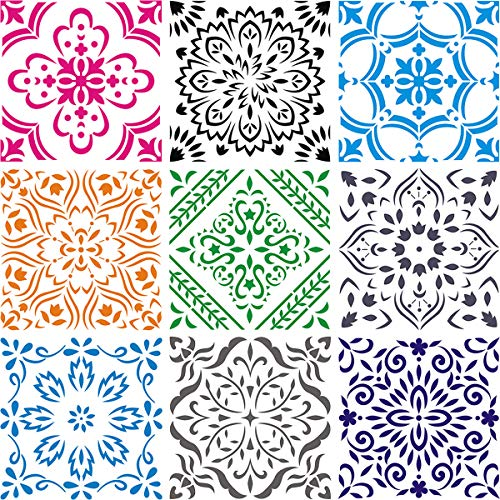 Large Mandala Stencil 12x12 Inch - 9 Pack Mandala Stencils Templates for Painting on Floor, Reusable Pattern Stencils for Fabric, Wood, Tile, Furniture Painting & Wall Art Decorations