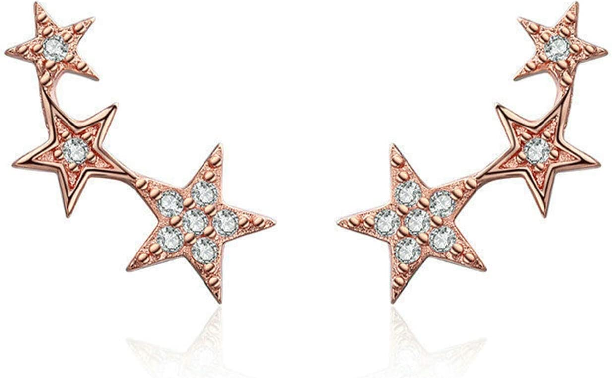 GaLon Discount mail order Women's S925 Sterling Silver Max 60% OFF Hypoallergenic Rose Gold Star