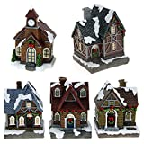 ToCi village de Noël illuminé, avec 5 maisons de Noël -Éclairage LED - Décoration de fenêtre - Fonctionne avec des piles