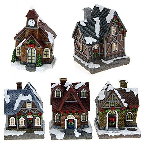 ToCi - Decorazione natalizia a forma di villaggio illuminato con 5 casette natalizie, illuminazione a LED colorata, decorazione per finestre, funzionamento a batteria