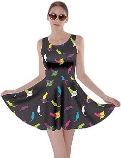 Womens Cats Kitten Meow Paw Pet Kitty Animals Claw Skater Dress, XS-5XL