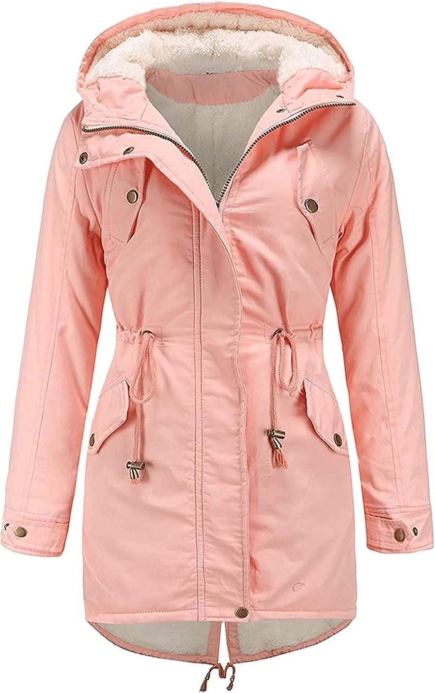 PAODIKUAI Womens Fleece Lined Hooded Parka Jacket Faux Fur Cotton Coat with Pockets