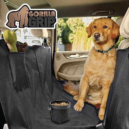Gorilla Grip Original Premium Durable Slip-Resistant Waterproof Dog Car Seat Protector Cover, Free Dogs Bowl, Durable, Universal Fit Pet Protectors for Cars, Trucks, SUV, Underside Grip
