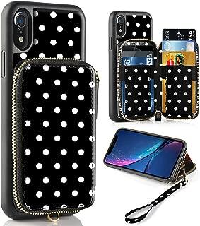 iPhone XR Case, ZVE iPhone XR Wallet Case with Credit Card Holder Slot Shockproof Protective Leather Zipper Pocket Purse Handbag Wrist Strap Print Case for Apple iPhone XR 6.1