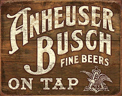 """Desperate Enterprises Anheuser Busch Fine Beers On Tap Tin Sign, 16"""" W x 12.5"""" H"""