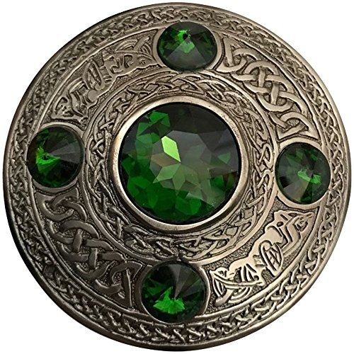 Scottish Fly Plaid Brooch Green 5 Stone Silver Antique 4'/Celtic Kilt Pin & Brooches (Flt Plaid Brooch Green Stone)