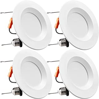 TORCHSTAR 5/6Inch Dimmable LED Retrofit Recessed Downlight with Smooth Trim, 15W (120W Equivalent), UL-Listed, CRI90+, 1100lm, 2700K Soft White, 5 Years Warranty, Pack of 4