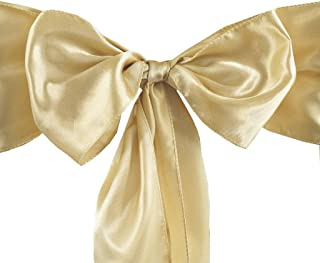 VDS - 50 PCS Elegant Satin Chair Bow Sashes Bows for Wedding Party Banquet Decor - Ribbon Tie Back sash – Champagne Gold