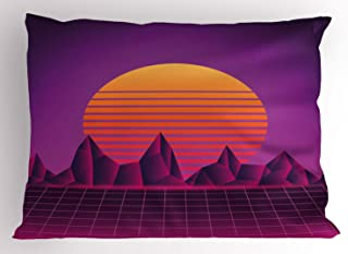 Lunarable Disco Pillow Sham, Digital Grid Layout of Futuristic Style Striped Sun, Decorative Standard Queen Size Printed Pillowcase, 30