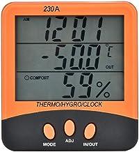 Plyisty Termómetro higrómetro, Rango de medición de Temperatura Interior 0-50 ℃ (32-120 ℉), Exterior -20-70 ℃ (-4-158 ℉), Sistema de Reloj con Pantalla de 12/24 Horas con función de Alarma.