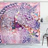 ABAKUHAUS Einhorn Duschvorhang, Fantasie-Tier Vögel, Bakterie Schimmel Resistent inkl. 12 Haken Waschbar Stielvoller Digitaldruck, 175 x 200 cm, Pink Purple