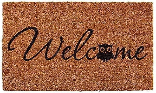 Calloway Mills 121481729 Barn Owl Welcome Doormat 17 X 29 Natural Black