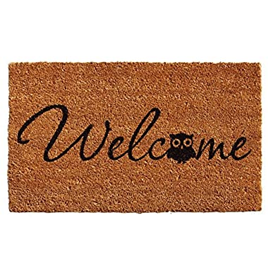 Home & More 121481729 Barn Owl Welcome Doormat, 17  x 29  x 0.60 , Natural/Black
