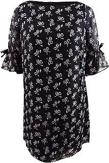 Betsey Johnson Women's Plus Size Vintage Bow Print Chiffon Dress