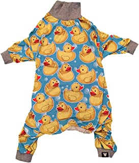 Tooth and Honey Pit Bull Pajamas/Rubber Duck Print/Lightweight Pullover Pajamas/Full Coverage Dog pjs/Yellow with Grey Trim