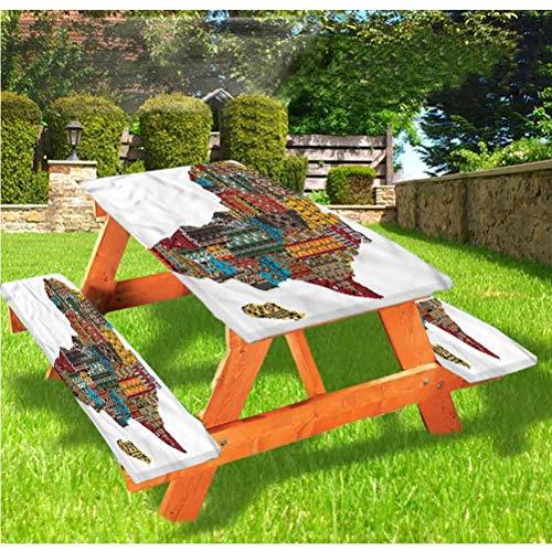 LEWIS FRANKLIN - Cortina de ducha de lujo para picnic, mantel de mesa de picnic, estilo antiguo continente con borde elástico, 28 x 72 pulgadas, juego de 3 piezas para mesa plegable