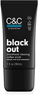 C&C by Clean & Clear Black Out Blackhead Clearing Coffee Facial Scrub with Salicylic Acid, Oil-Free Exfoliating Face Wash for Acne Prone Skin, Not Tested on Animals - Travel Size 1.0 fl. oz
