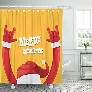Emvency Shower Curtain 72x78 Inch Home Decor Bathroom Santa Claus Hand Rock N Roll Gesture On Orange Christmas Concert Rockstar Shower Hooks Set are Included