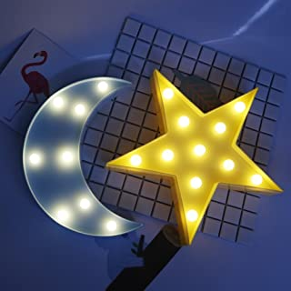 Yaeer LED Night Lamp Starry Sky Marquee Sign Lights Kids Gift Room Wall Decoration Night Table Lamp(Star,Moon)
