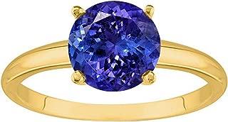 1/2-5 Carat 18K Yellow Gold Round Tanzanite 4 Prong Diamond Engagement Ring (AAA Quality)