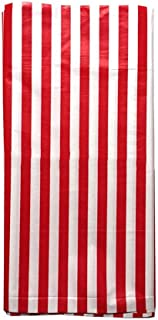 JINSEY Pack of 3 Plastic Red White Stripe Print Tablecloths - 3 Pack - Party Picnic Table Covers