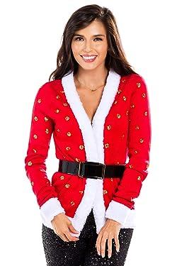 Mujer lentejuelas señora Claus Navidad suéter - Cinturón rojo Santa feo Navidad Cardigan Mujer