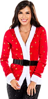 Women's Sequin Mrs. Claus Christmas Sweater - Belted Red Santa Ugly Christmas Cardigan Female