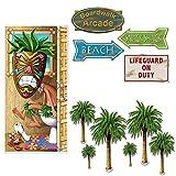 Luau Beach Party Decoration 11 Piece Bundle Door Cover Palm Tree Beach Sign Cutouts