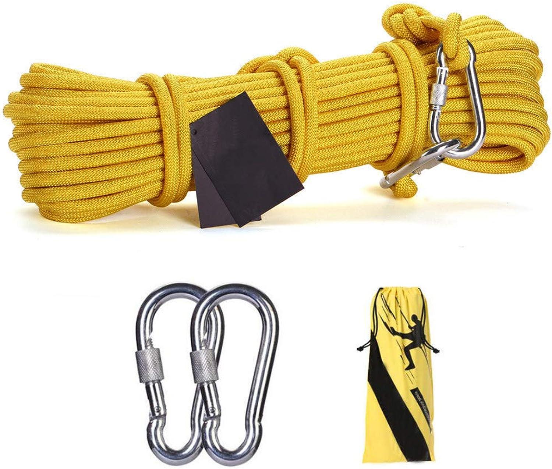 GOODLUKE Stahldrahtseil,10mm Sicherheit im Freien Rettung Seil Multifunktions Wscheleine mit 2  Karabiner Home Fluchtseil,Gelb