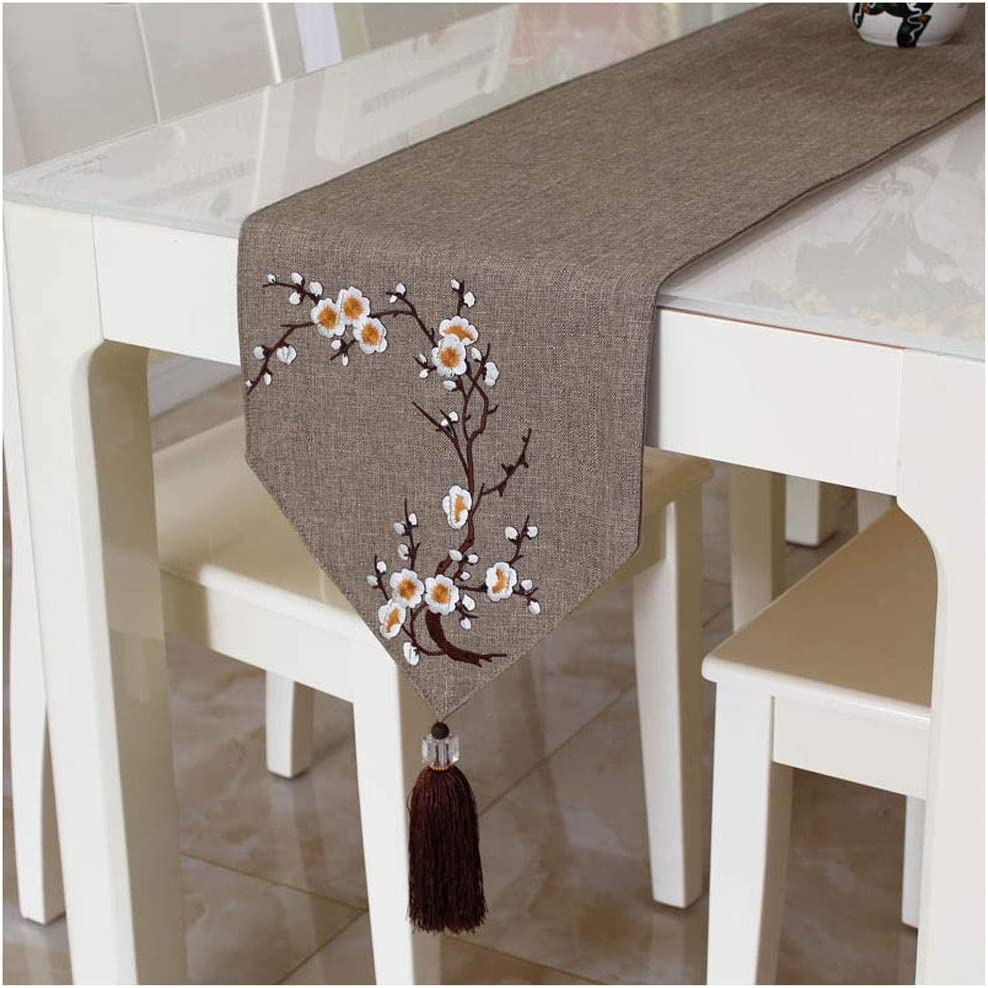 FTLHONG Elegant Table Runner Tassel Solid Color Embr Decor Plum Max 75% OFF Low price