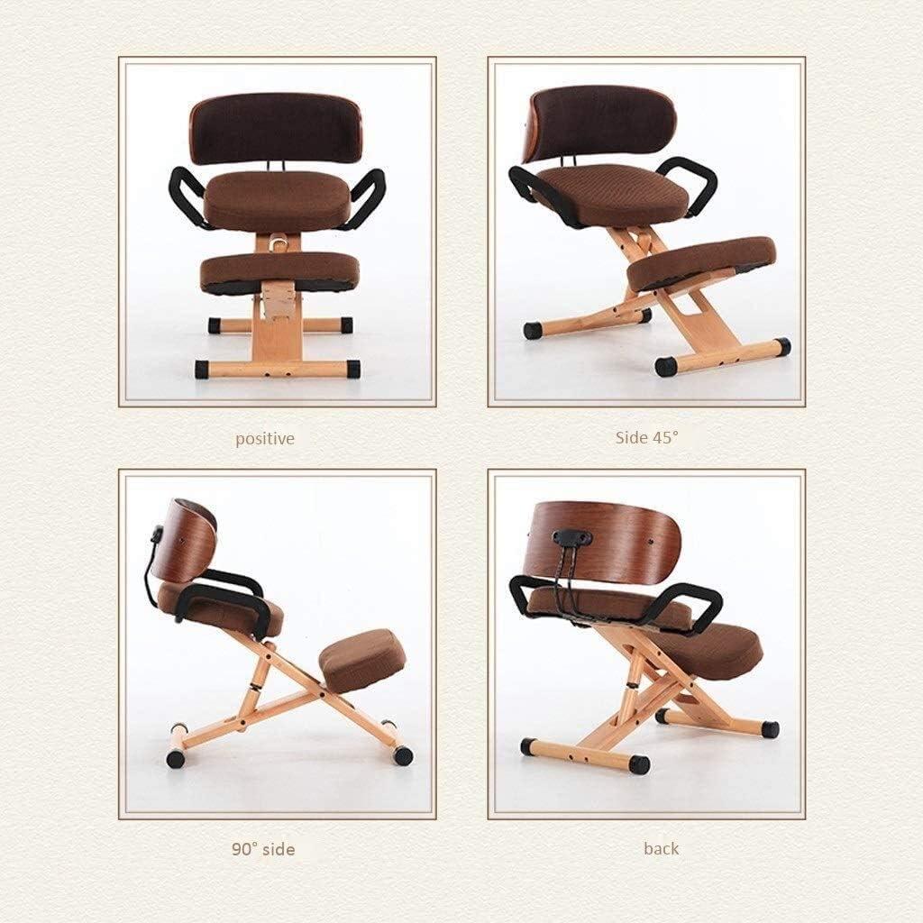 AYHa Agenouillé Chaise de bureau Chaises Chaise Ordinateur Ergonomie Bureau Chaise lecture Chaise réglable en hauteur avec dossier,marron Vin Rouge