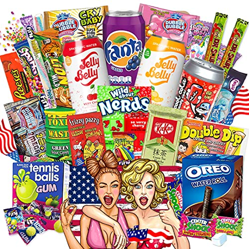 HappyLOL® XXL Amerikanische Süßigkeiten Box | USA Candy Naschbox 27 Teile | Süßigkeiten aus aller Welt inklusive amerikanische Getränke