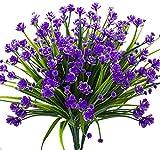 Flores artificiales, 4 ramos para exteriores, resistentes a los rayos ultravioleta,...