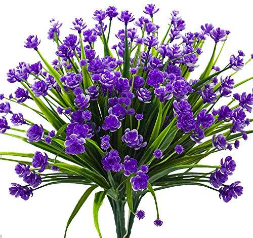 Mazheny - 4 mazzo di fiori artificiali, resistenti ai raggi UV, per interni ed esterni, decorazione da vaso per la casa e il giardino